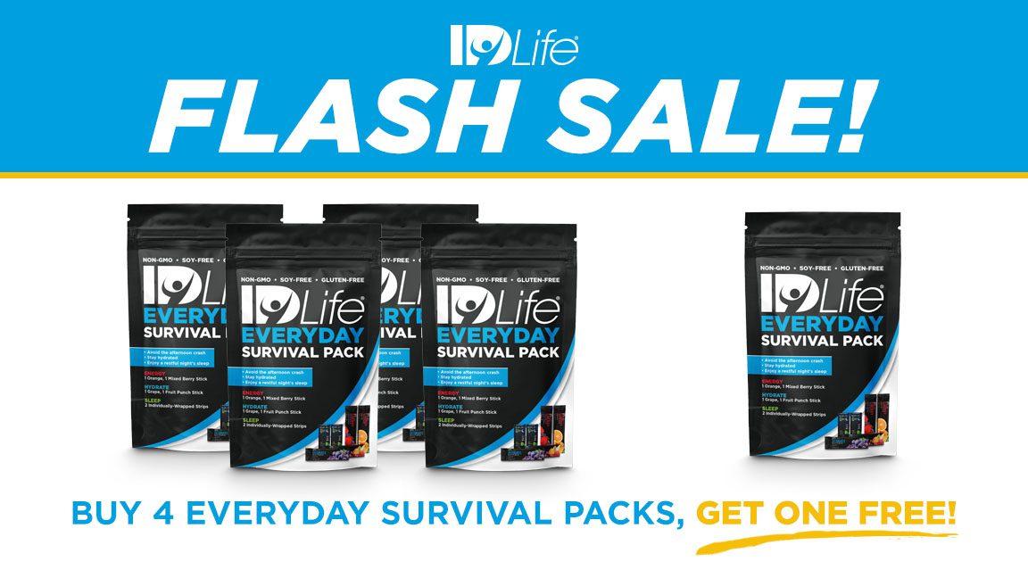 Flash Sale: Buy 4, Get 1 Everyday Survival Pack 02/2018